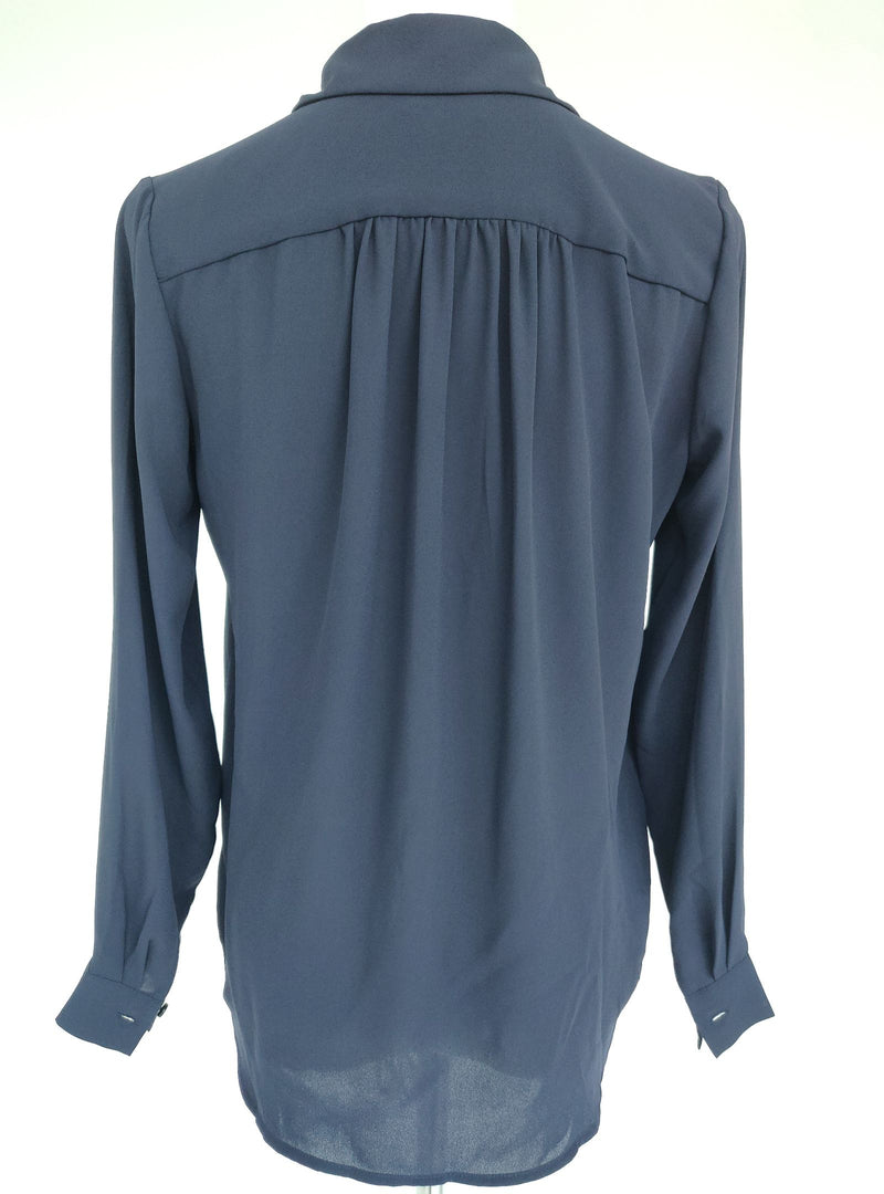 Ann Taylor Dark Blue Blouse with Collar (XS Petite)