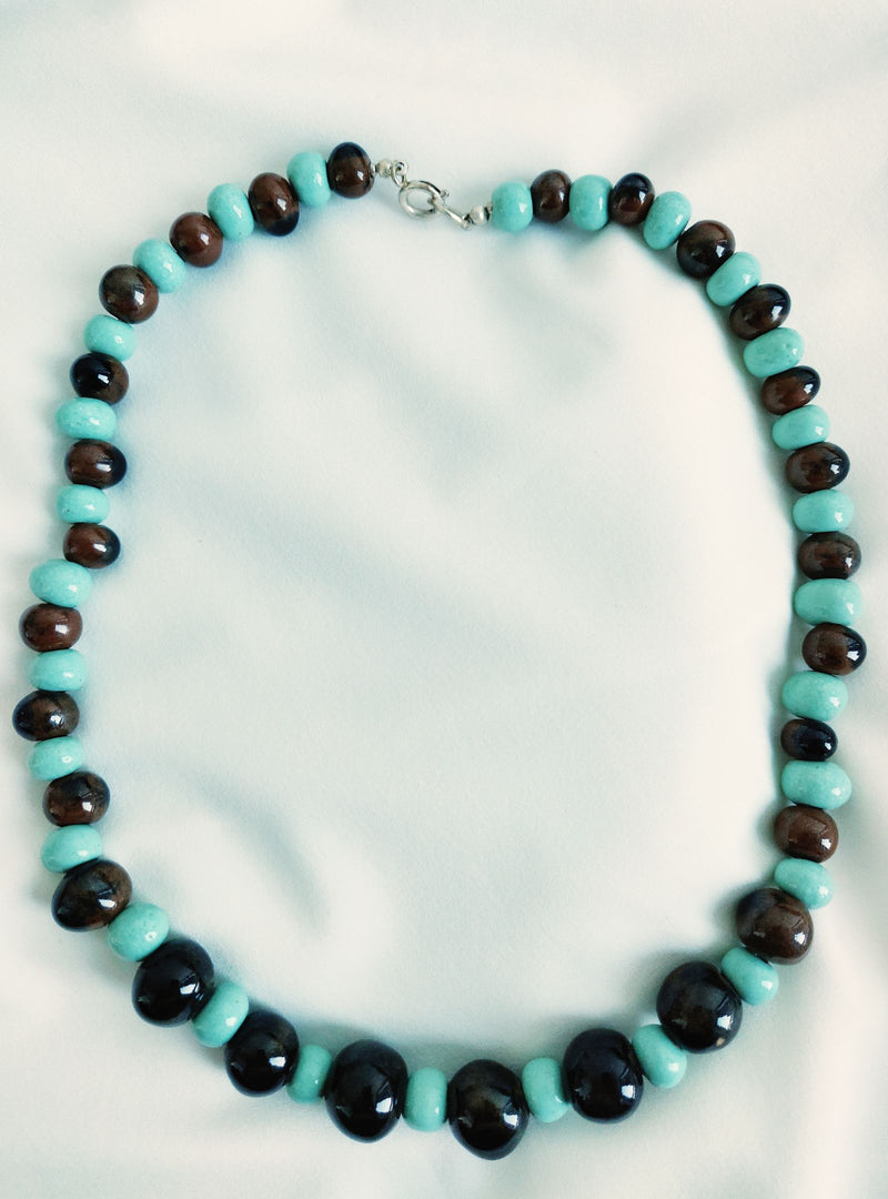 Brown and Turquoise Beaded Necklace