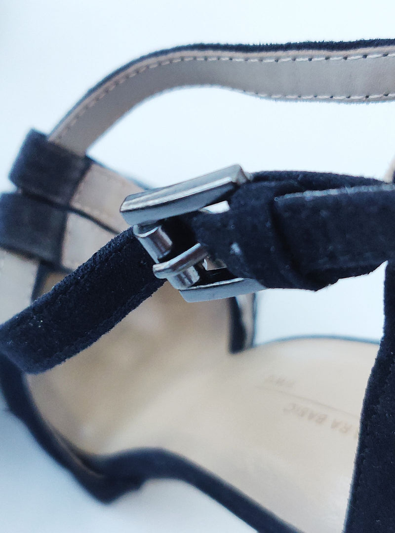 Zara Black Suede Stilettos with Ankle Straps (EU37)