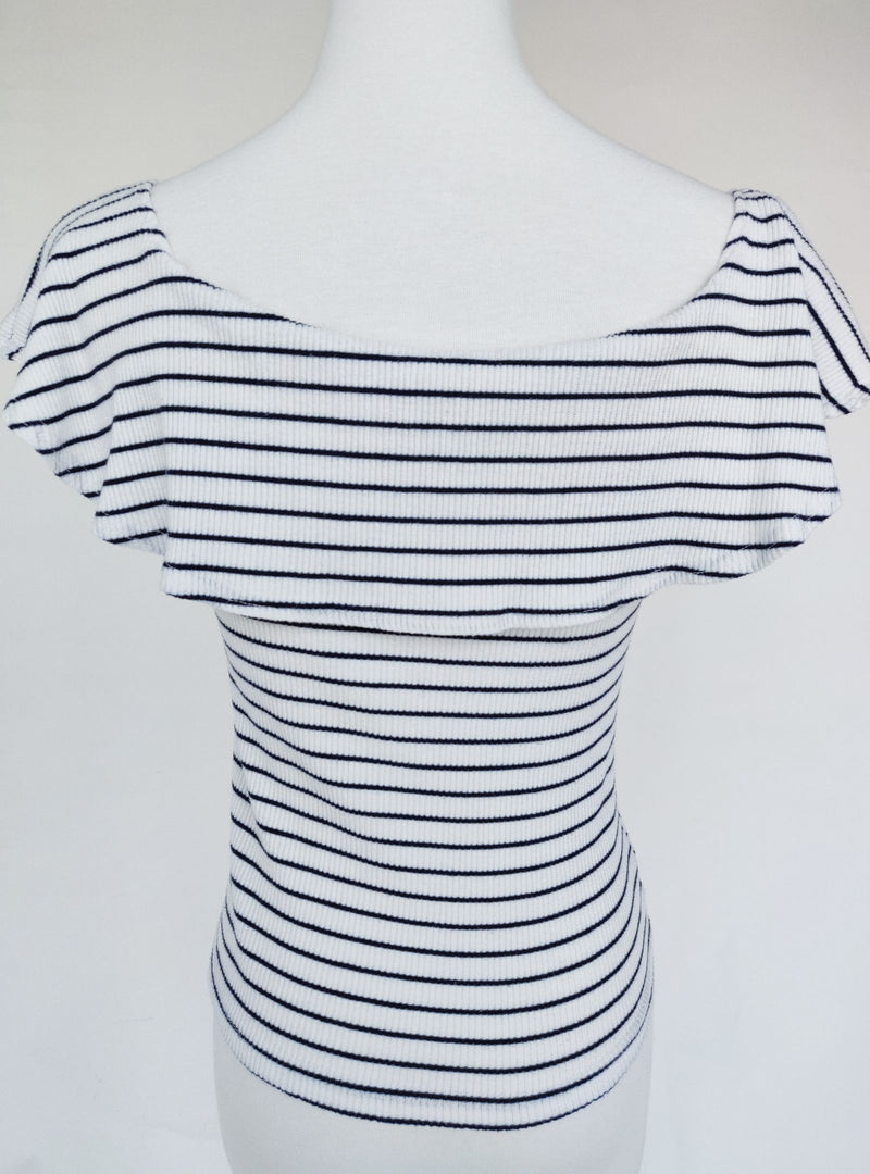 Mango Blue & White Stripped Crop Top (Medium)