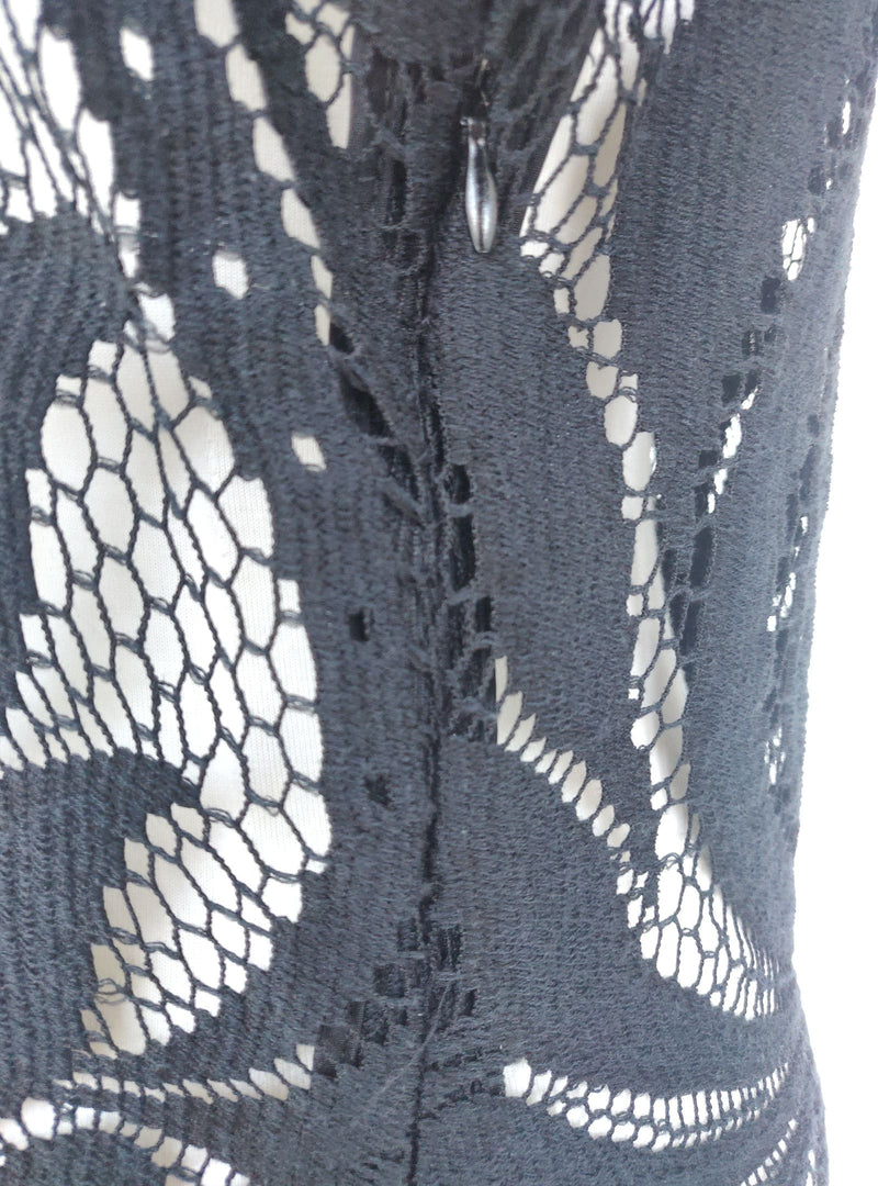 Phase Eight Black Knee-Length Lace Dress (Medium)