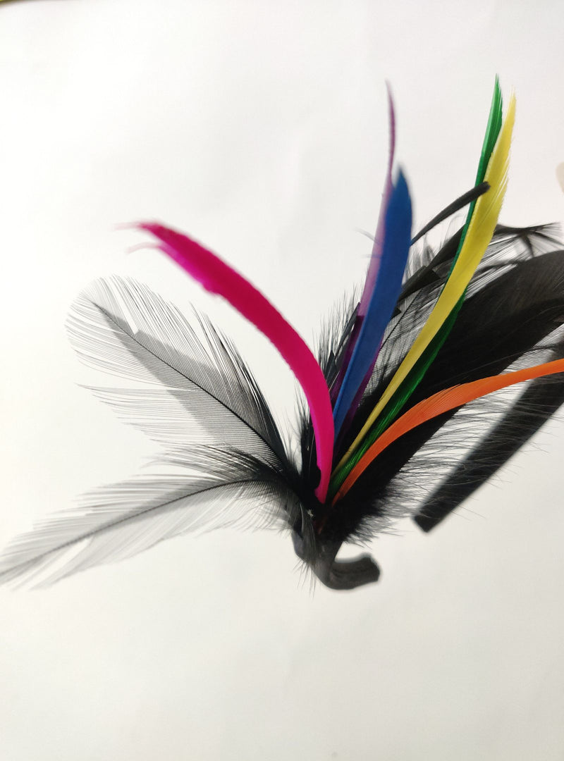 Aldo Black Headband with Colourful Feathers