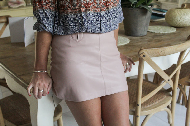 Zara Pleather Pink Short Skirt (Small)