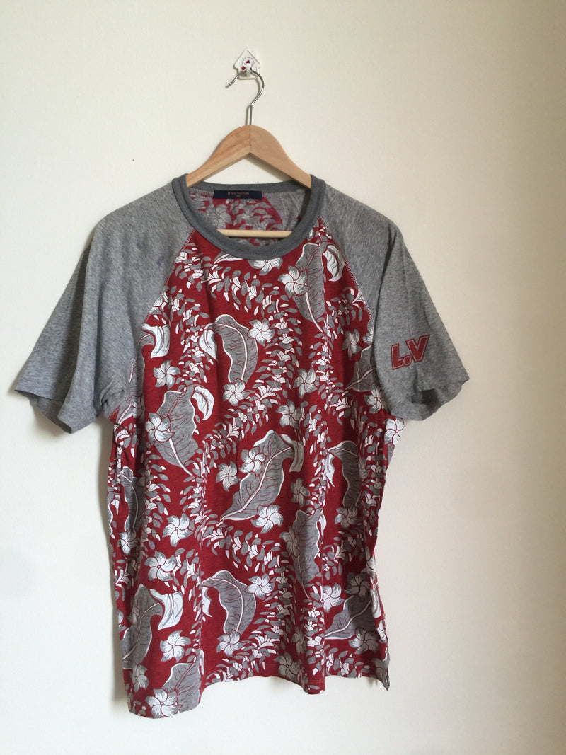 Louis Vuitton Cotton Tshirt with Tropical Design (XL)