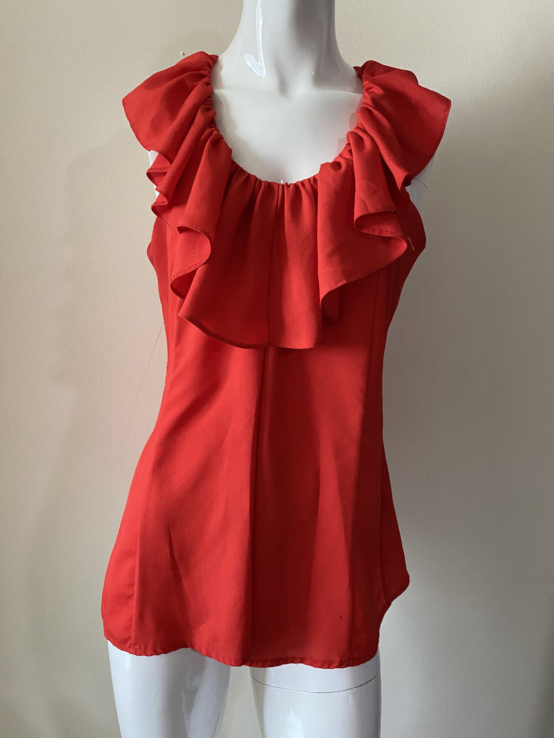 Sioni Ruffled Short Red Dress (Small)
