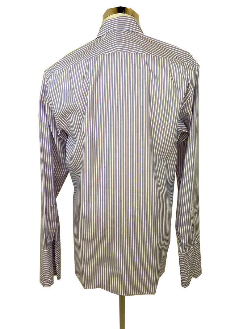 M&S Luxury Collection Men's Purple, Pink and White Striped Shirt (XL)