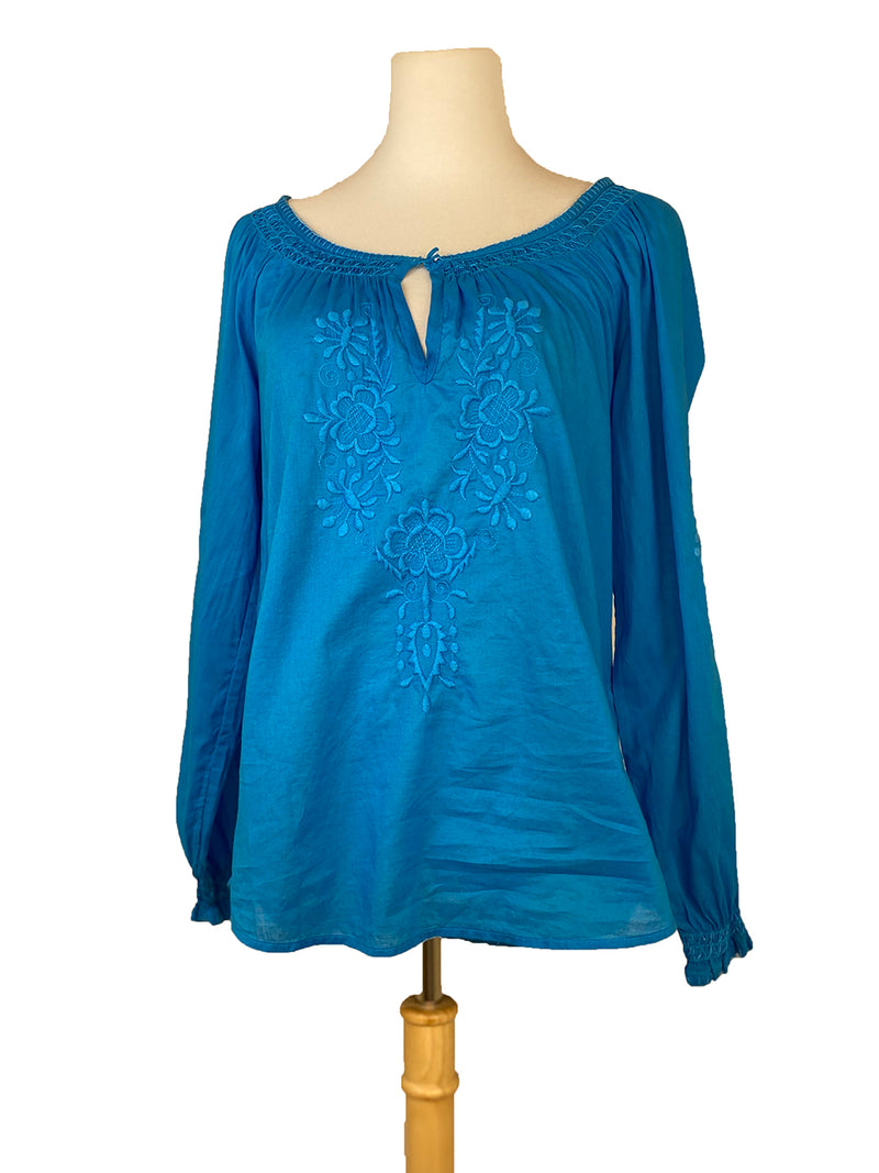 H&M Embroidered Blue Peasant Top (Small)