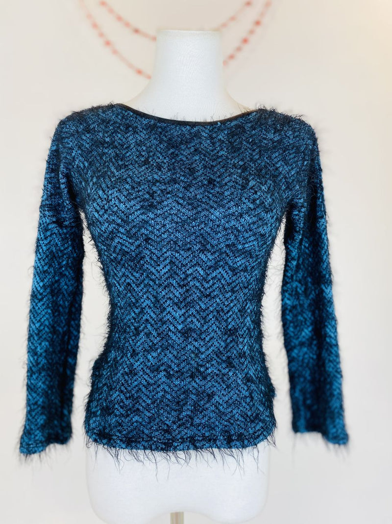 Miss Behave Faux Mohair Electric Blue Sweater (Child's L)