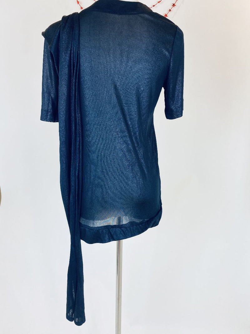 French Connection Metallic Blue Top (Small)