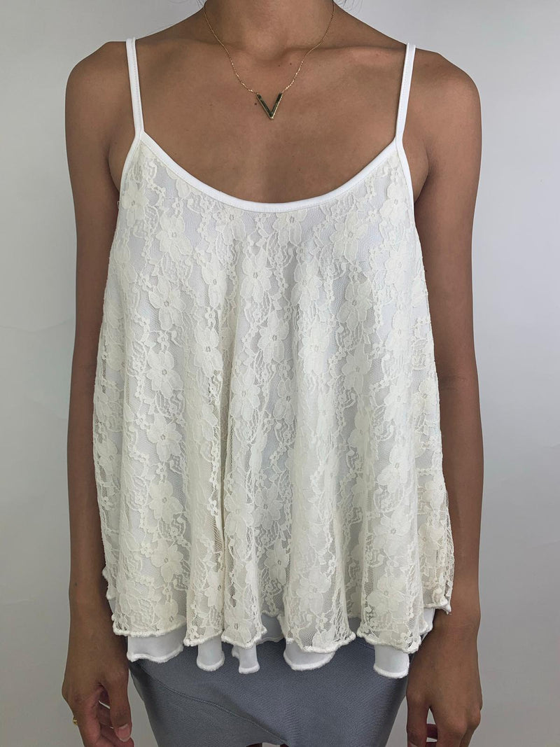 Women's Lace Cream Vest top (Small)