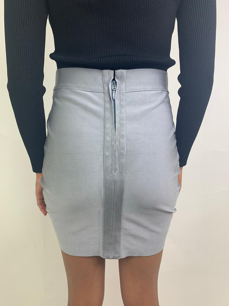 Women's Grey fitted mini skirt (Medium)