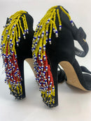 Brian Atwood Black Peep-Toe Heels with Beaded Fringe Heels (EU36)