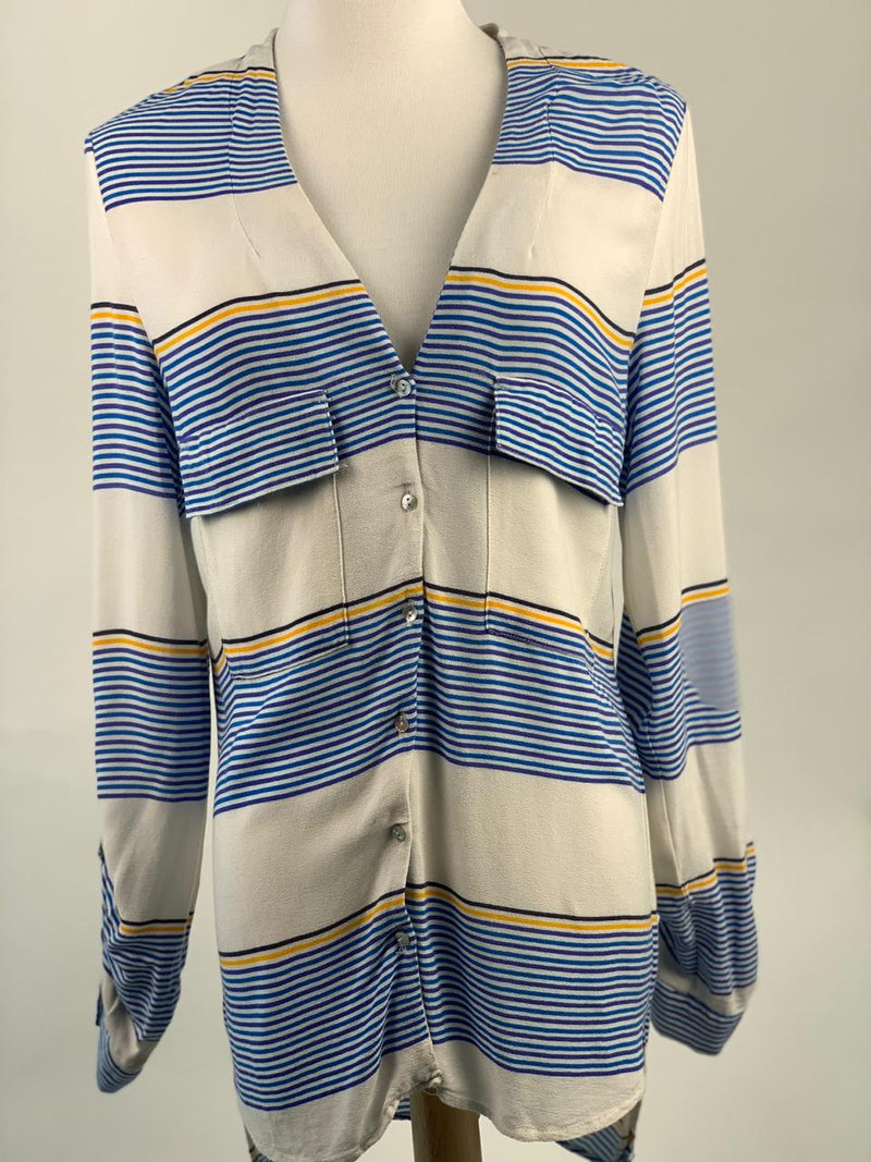 Zara Women's White and Blue Striped Top (Small)