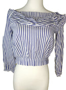 Zara Blue/White Stripes Off Shoulder Crop Top (Small)