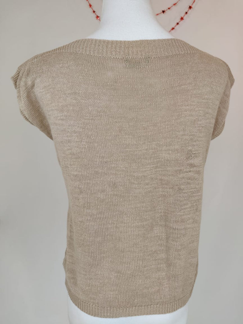 United Colors of Benetton Beige Knitted Sleeveless Tops