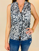 H&M Womens Black/White Sleeveless Blouse (Small)