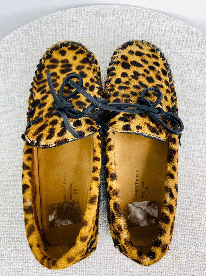 Isabel Marant Étoile Leopard Print Calf Hair Fell Bow Moccasins (EU38) - new with original washbag