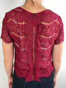 Topshop Red Lace Top (XS)