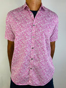 Ted Baker Men's shortsleeved shirt with pink print (Large)
