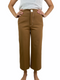 Zara Women's brown trousers with white stitch detail (Xsmall)
