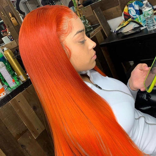 Fashion Orange Blonde Long Straight Synthetic Front Lace Wig for Woman