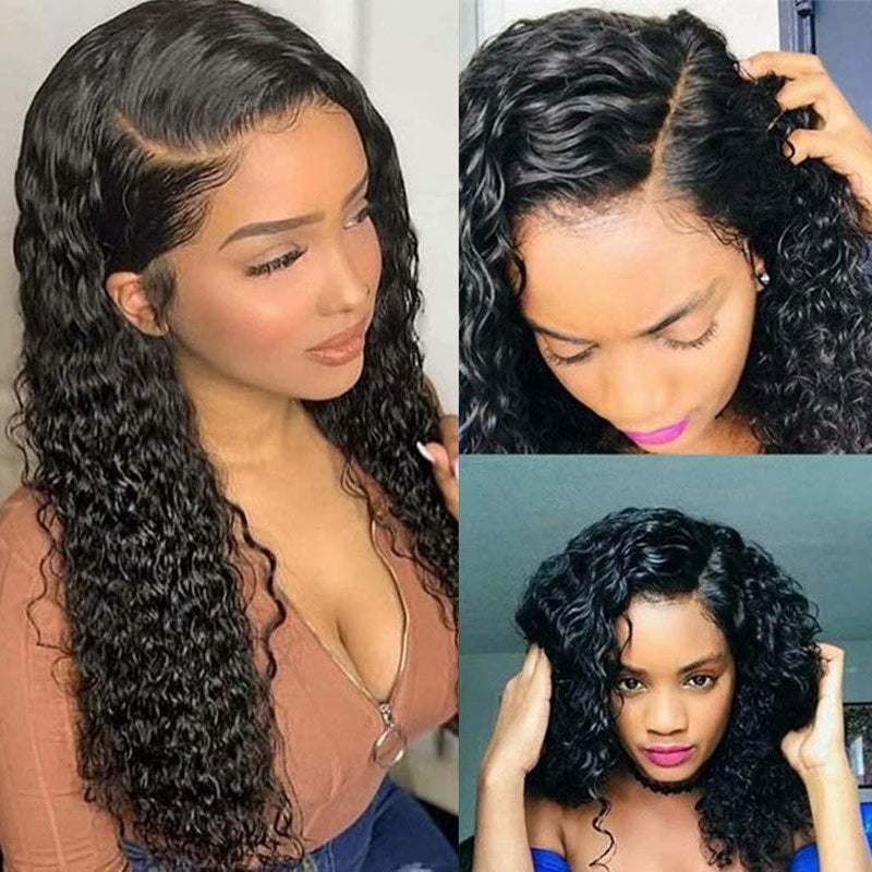 Brazilian Water Wave Curly Lace Front human Wigs Glueless  Pre Plucked Lace Front Wigs 140% Density