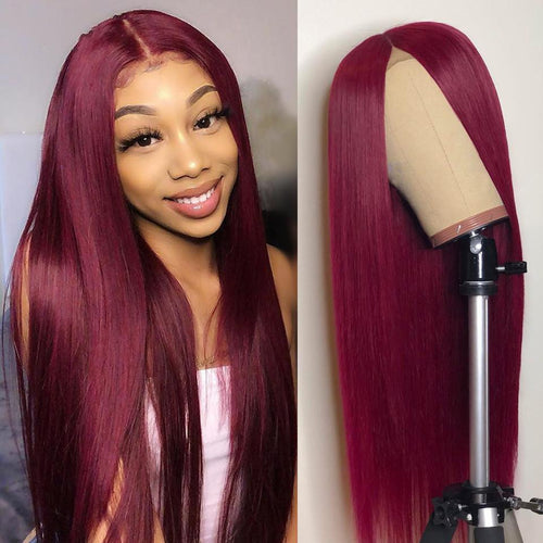 Brazilian Human Hair Wigs Red Wine Color Lace Frontal Human Hair Wigs With Baby Hair Burgundy Wig