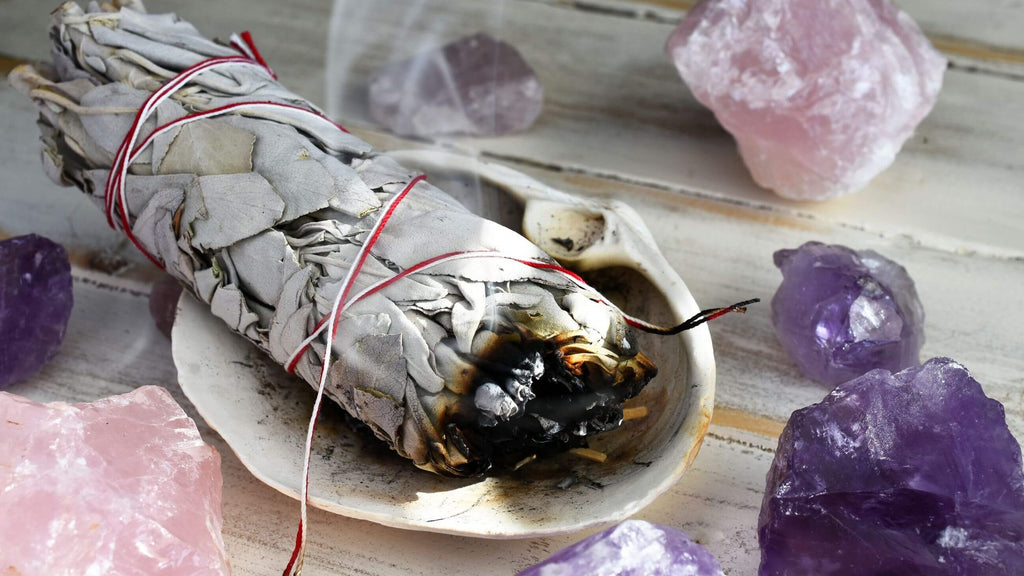Smudging Sage To Cleanse Crystals