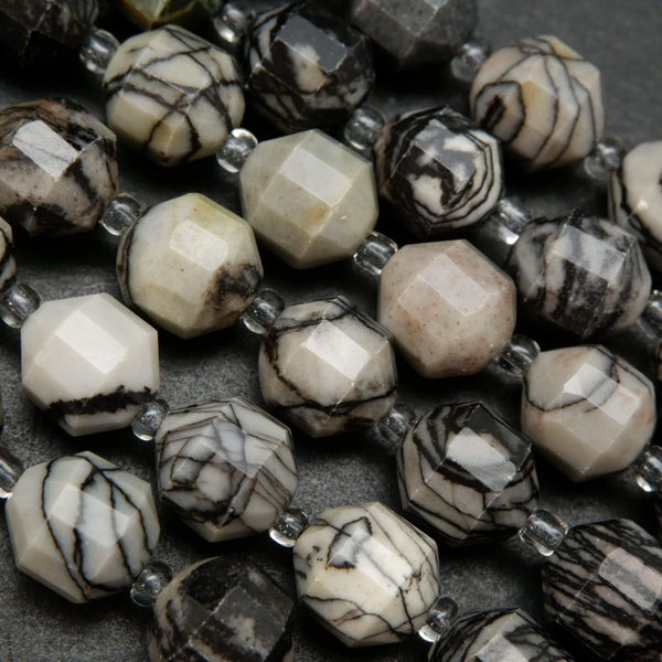 Grey and Black Faceted Black Picasso Jasper Prism Shaped Beads For Handmade Jewelry