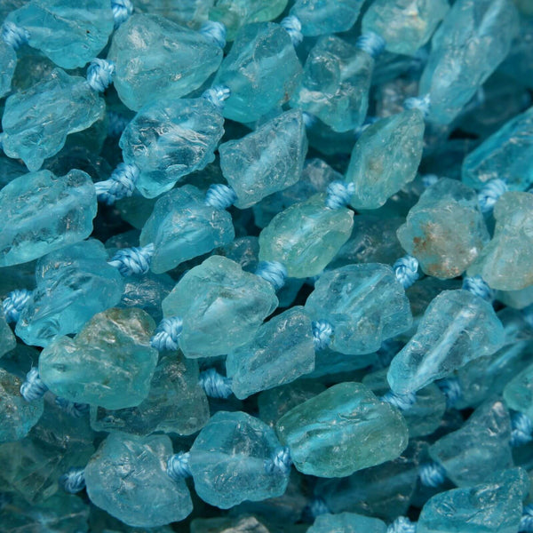 Translucent Blue Apatite Raw Finish Nugget Beads.