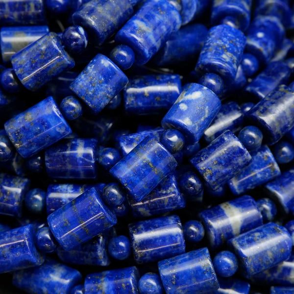 Barrel Shape Blue Lapis Lazuli Beads