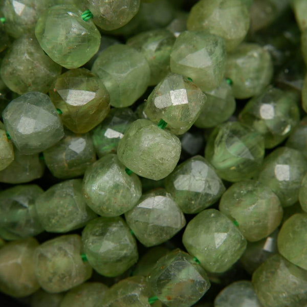 5mm Microfaceted Cube Shape Green Apatite Beads
