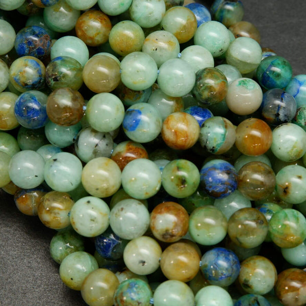 Natural Green and Blue Azurite in Quartz Round Beads