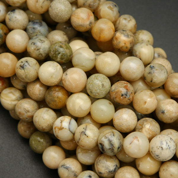 White African Opal Round Polished Gemstone Beads