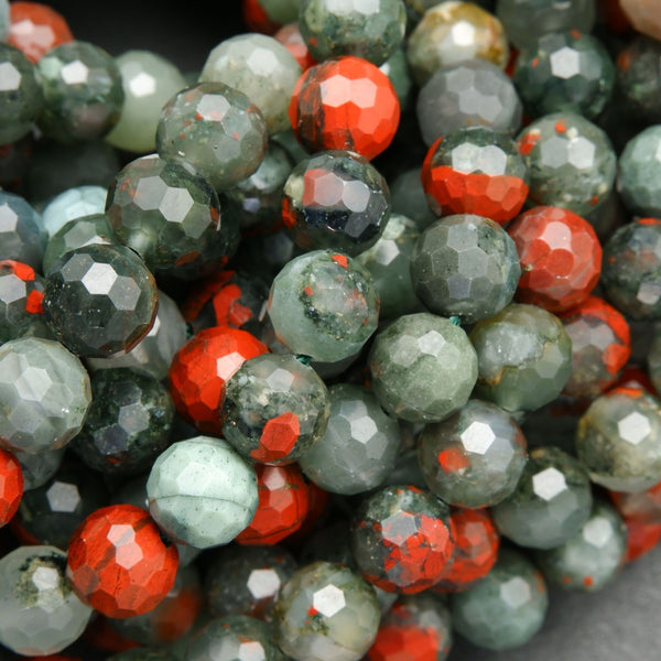 African Bloodstone Round Faceted Beads