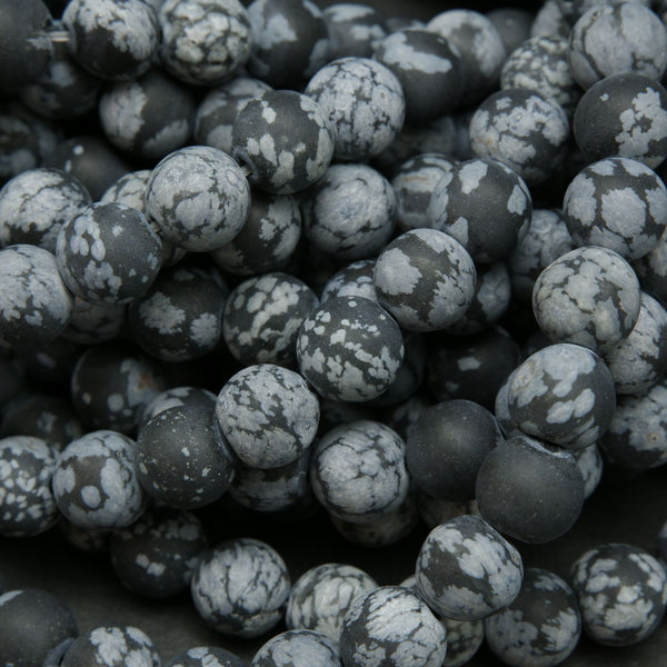 Matte Finish Snowflake Obsidian Gemstone Beads
