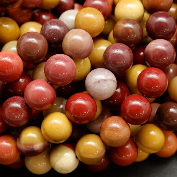 Multicolor Red And Yellow Mookaite Smooth Round Polished Gemstone Beads