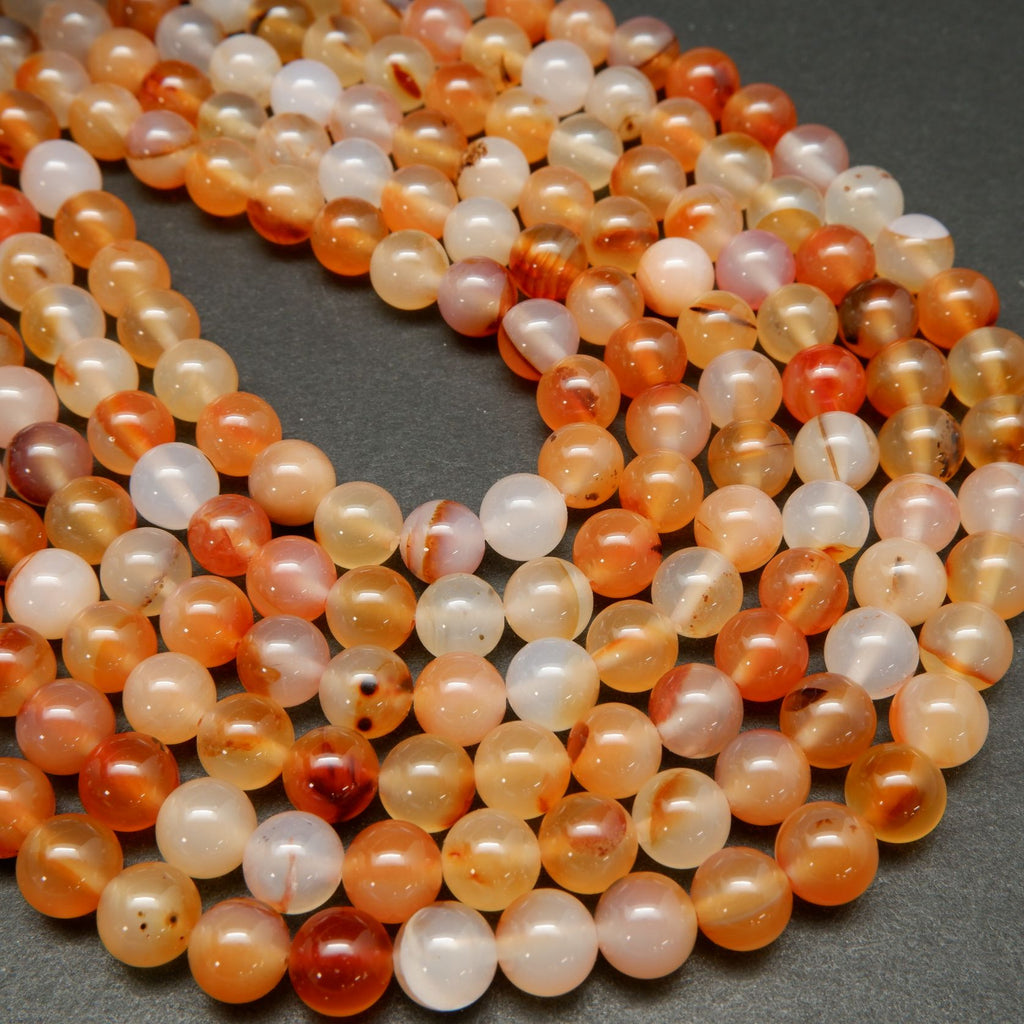 Red Dendritic Agate Smooth Round Polished Beads