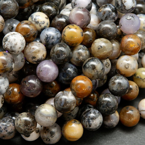 Amethyst Sage Round Smooth Polished Multicolored Gemstone Beads