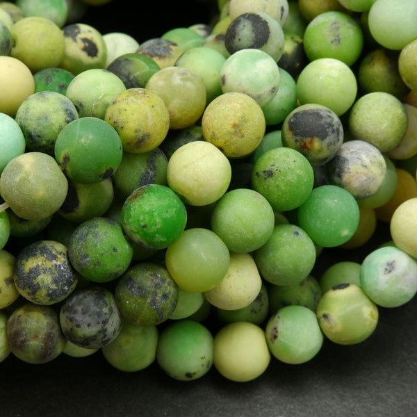 Lime green Chinese chrysoprase beads.