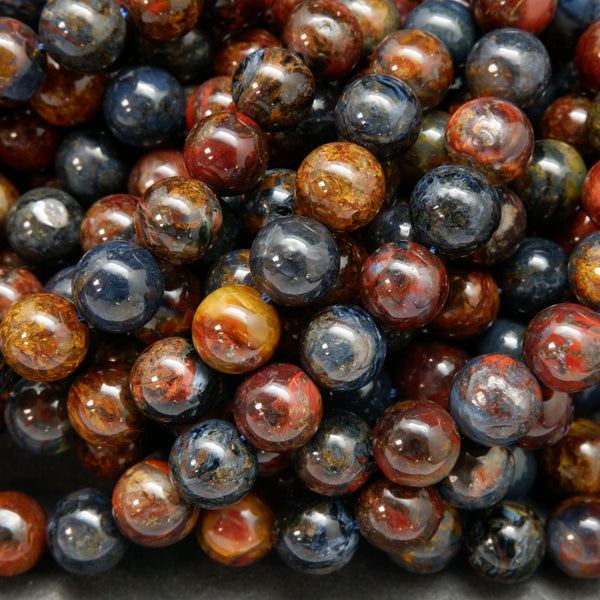 Blue and Brown Pietersite Round Loose Beads