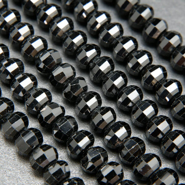 Lantern Faceted Black Spinel Beads for Jewelry Making