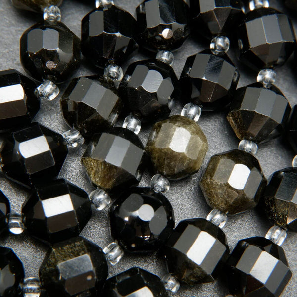 Golden Obsidian Faceted Prism Shaped Beads For Jewelry Making