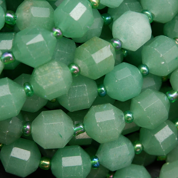 Faceted Prism Shape Green Aventurine Beads