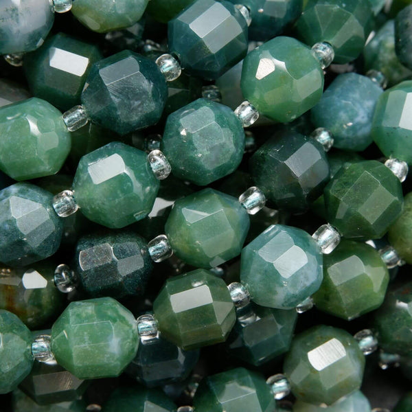 Faceted Prism Shape Green Moss Agate Beads For Jewelry Making.