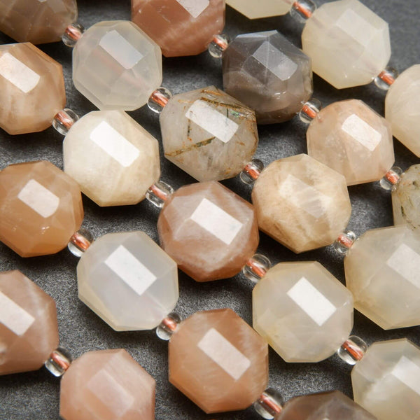 Multicolor Brown Mixed Moonstone Faceted Prism Shape Beads
