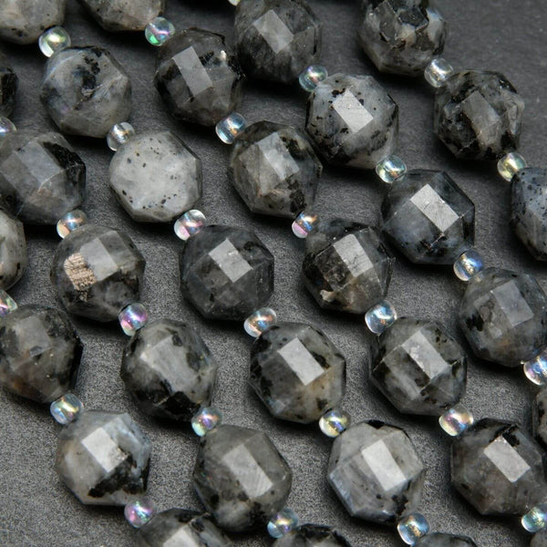 Faceted Larvikite Beads For Handmade Jewelry