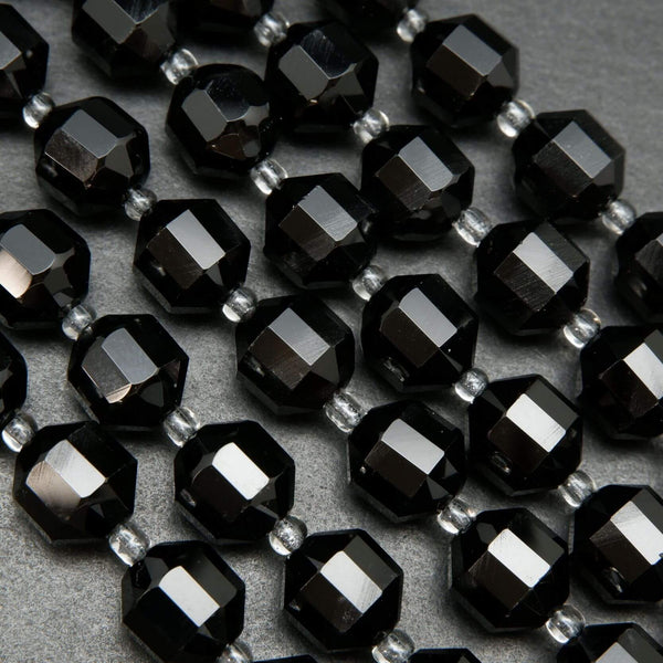 Faceted Black Onyx Prism Beads For Jewelry Making