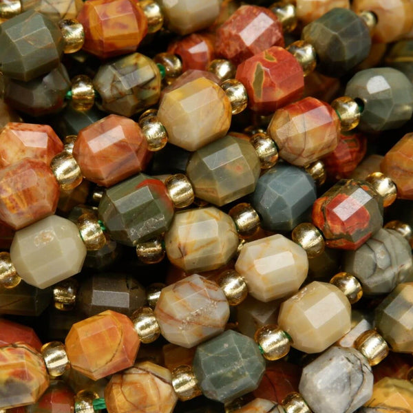 Faceted Red Creek Jasper Loose Prism Beads For Jewelry Making