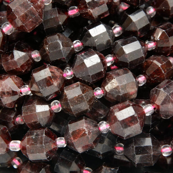 Faceted Red Garnet Beads With Energy Prism Shape